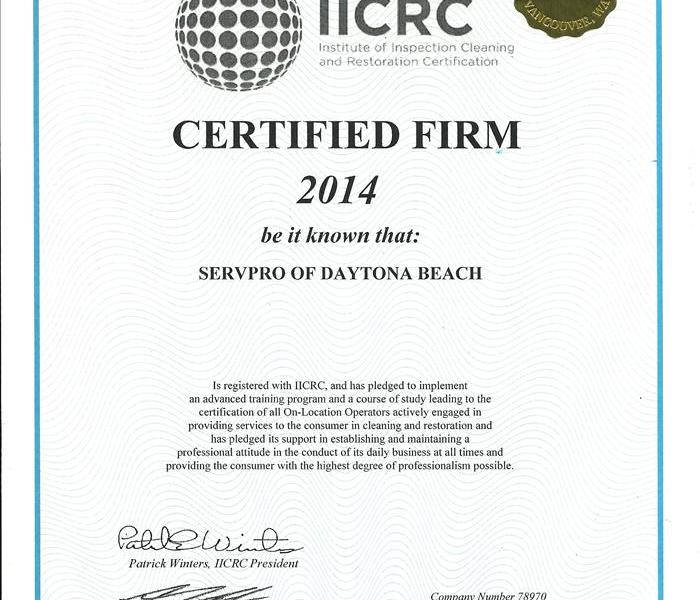 IICRC (Institute of Inspection Cleaning and Restoration Certification)