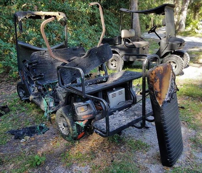 Golf Cart Catches Fire